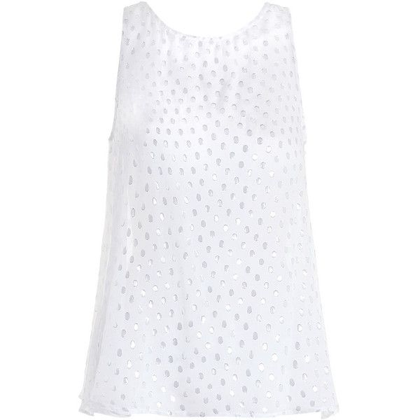 Zimmermann Seer Silver Lurex Swing Tank (5,435 HNL) ❤ liked on Polyvore featuring tops, silver top, silver tank, loose fitting tank tops, polka dot top and white tank top