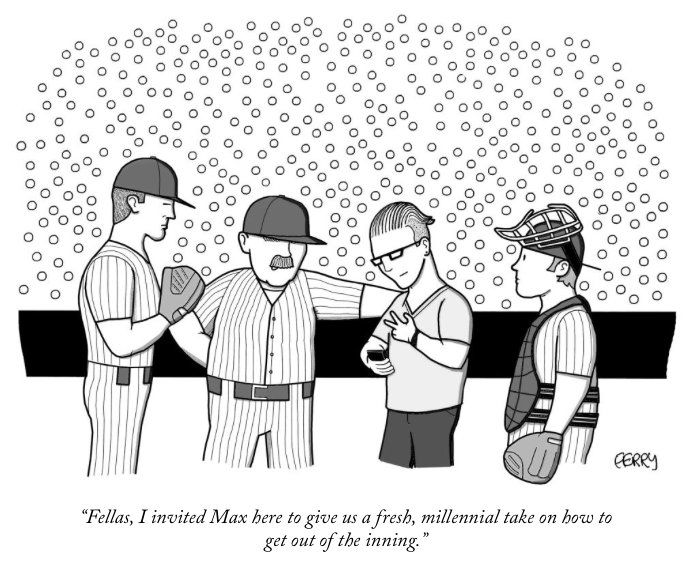 Baseball The Millennial Way New Yorker Cartoons Giclee Print Print Design Fashion