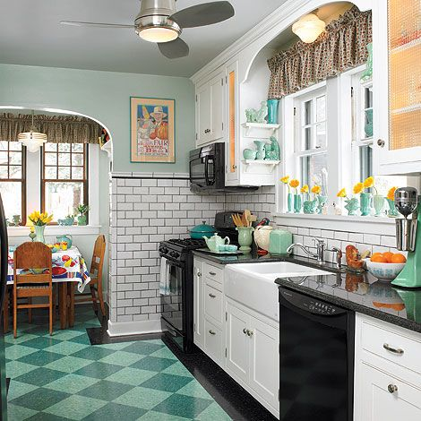The Floor is a Key to Style!   Black appliances, Kitchens and ... on 2014 small bathrooms designs idea, breakfast nook kitchen dining room design, breakfast nook kitchen table and chairs, breakfast nook kitchen bench idea, coffee nook kitchen idea,