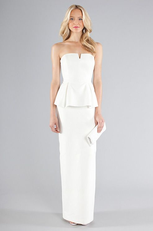 Renée Zellweger's beach-casual gown features a similar neckline to this peplum-waisted column gown from Nicole Miller.