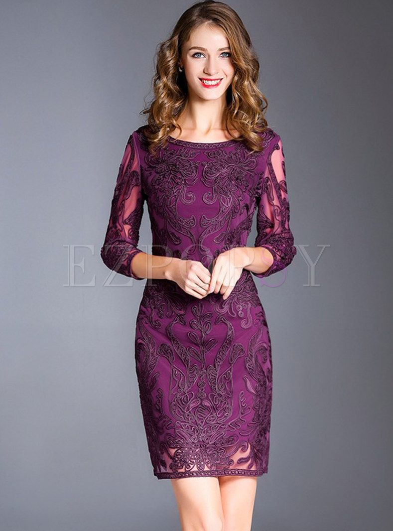 Vintage Lace Embroidered Bodycon Dress Dresses Bodycon Dress One Piece Dress [ 1066 x 789 Pixel ]
