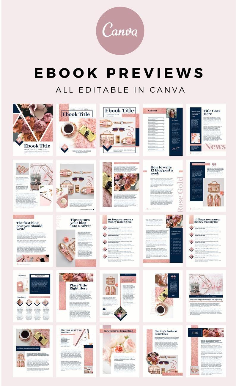 Rose Gold Chic Mega Workbook Canva Template. Workb