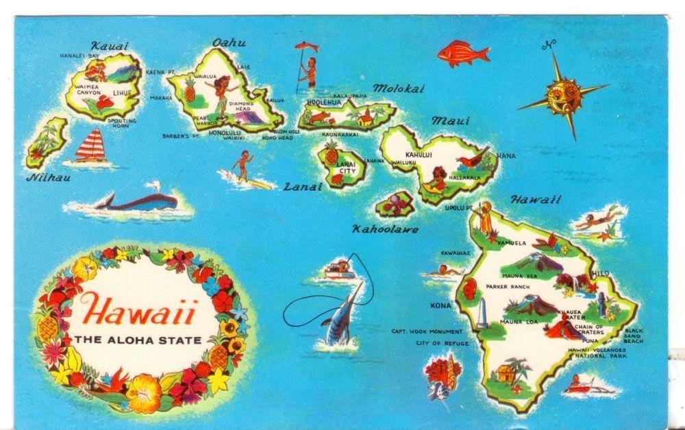 Unused Postcard Hawaii The Aloha State HI Map of Islands - best of world map with alaska and hawaii