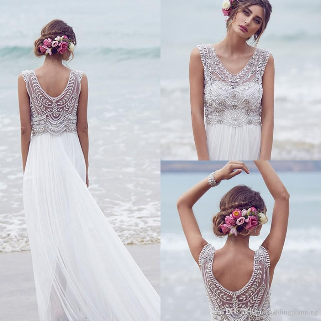 Wedding dresses with beading  Anna Campbell Formal Wedding Dresses  Beading Crystals Chiffon