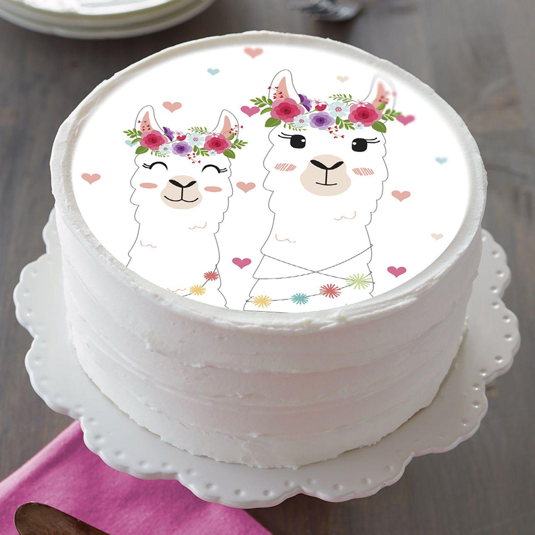 Llama image edible cake topper birthday cake topper