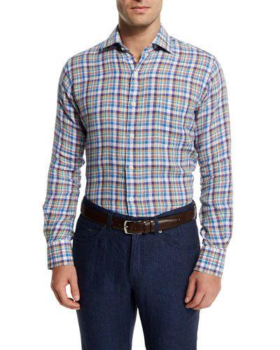 5038590d3599 Peter Millar Plaid Long-Sleeve Linen Sport Shirt