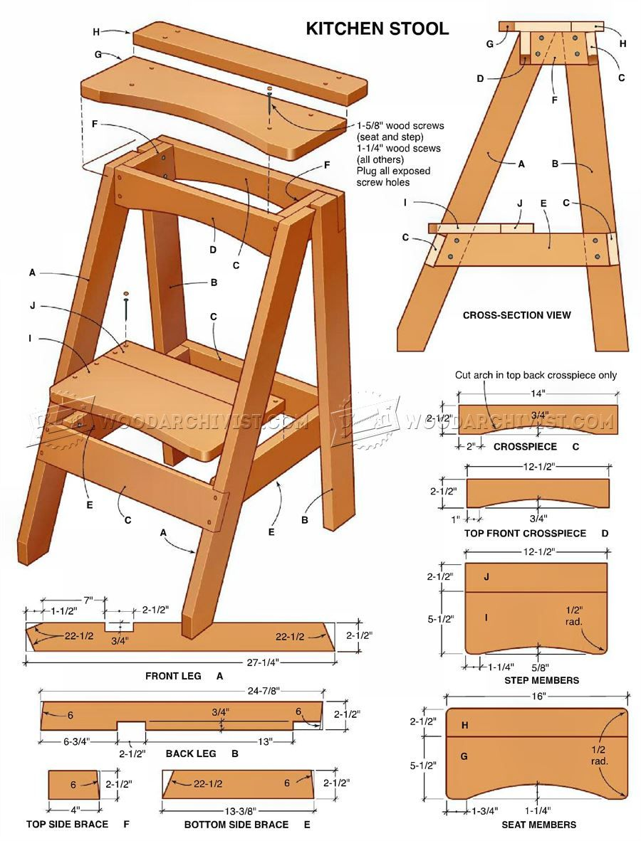 3220 Kitchen Step Stool Plans - Furniture Plans | Woodworking ...