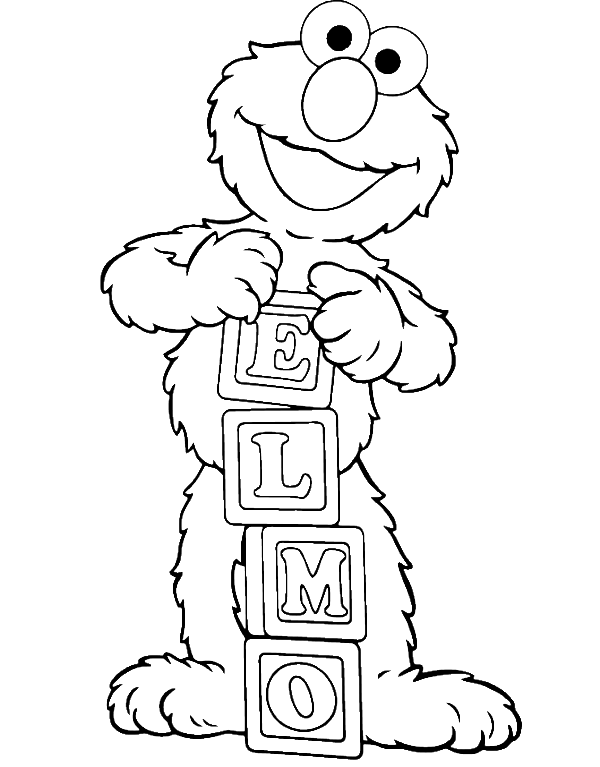 Elmo Is Showing Off His Name Coloring Page