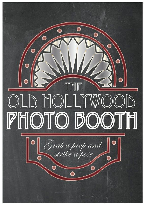 Old Hollywood Photo Booth Party Props Chalkboard By TheQuirkyQuail