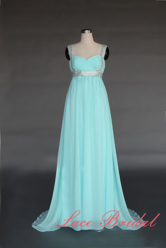 Outside Long Chiffon Evening Dress, Crystal beaded Prom Dress, Comfortable Strap Party Gown, Simple A-line Evening Gown