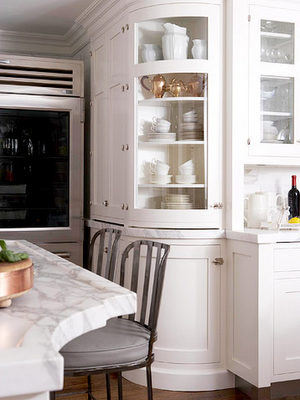 Glass Front Cabinets For The Kitchen. Love The Curved Cabinetry And Details  On The