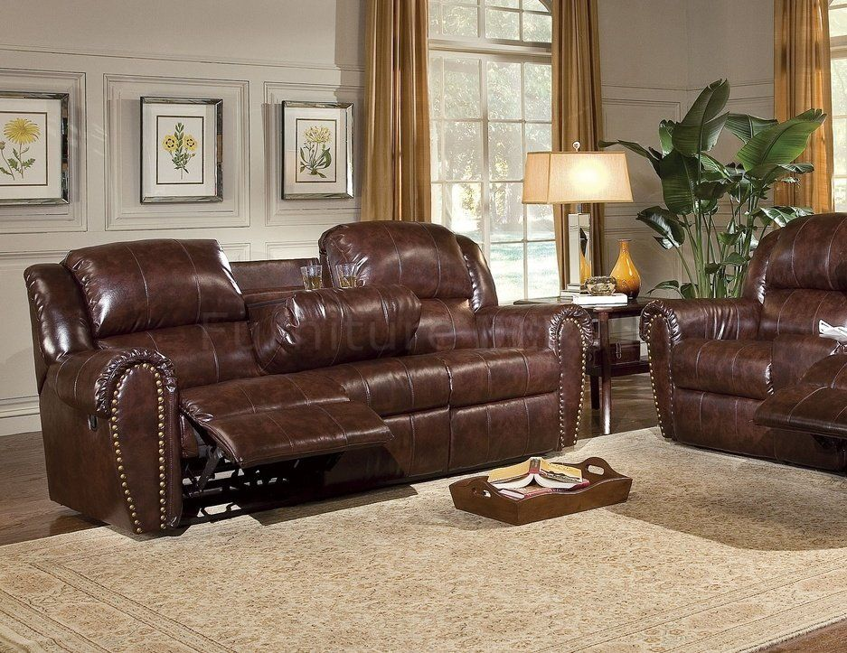 Cognac Brown Bonded Leather Sofa Chair Set W Reclining Seats Clic And