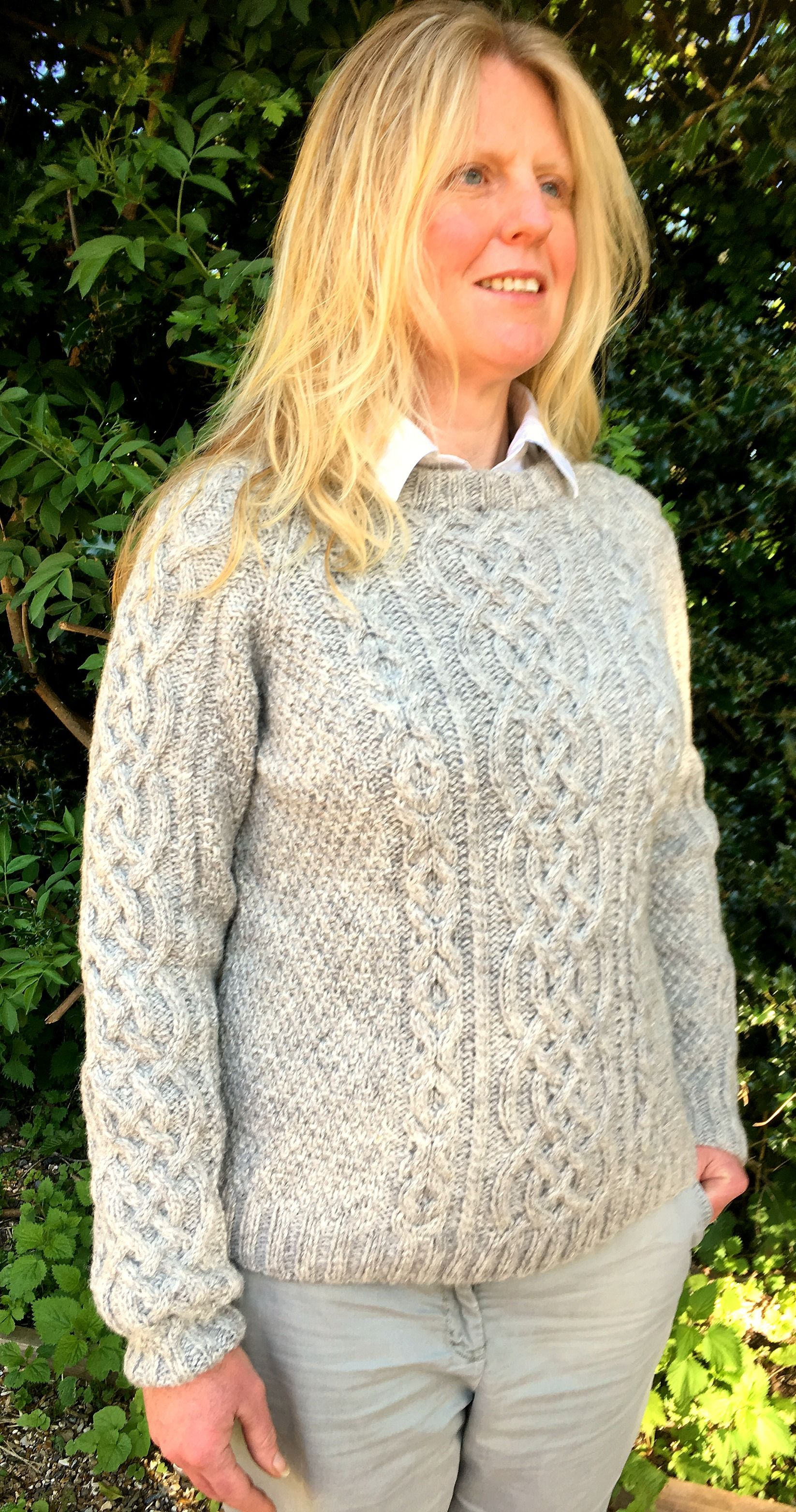 bde3ac82a Unisex Pure Scottish Aran Wool Sweater in Grey - chest size 38-40