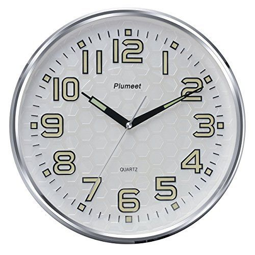 Plumeet 13 Inch Wall Clock With Silent Non Ticking Night Lights Function Indoor Kitchen Of Large Number Easy To Read Battery Operated Quartz Analog Movement Rou Wall Clock Glow In The Dark Large Wall Clock