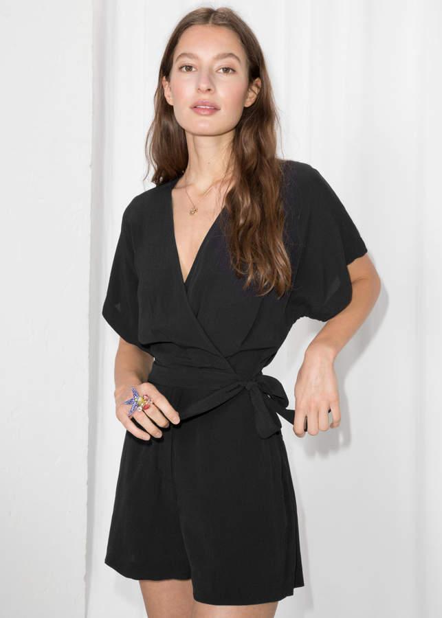 a2fd92be94 Wrap Tie Romper in 2019 | Products | Wrap dress short, Black romper ...