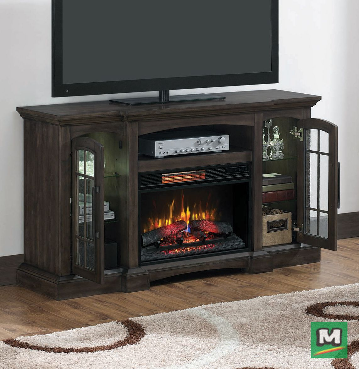 Dress Up Your Den With A Chimneyfree 60 Fairborn Electric Fireplace Entertain Electric Fireplace Entertainment Center Fireplace Entertainment Center Fairborn