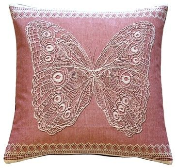 Pillow Decor Lace Butterfly In Rose French Tapestry Throw Pillow Delectable Pillow Decor Ltd