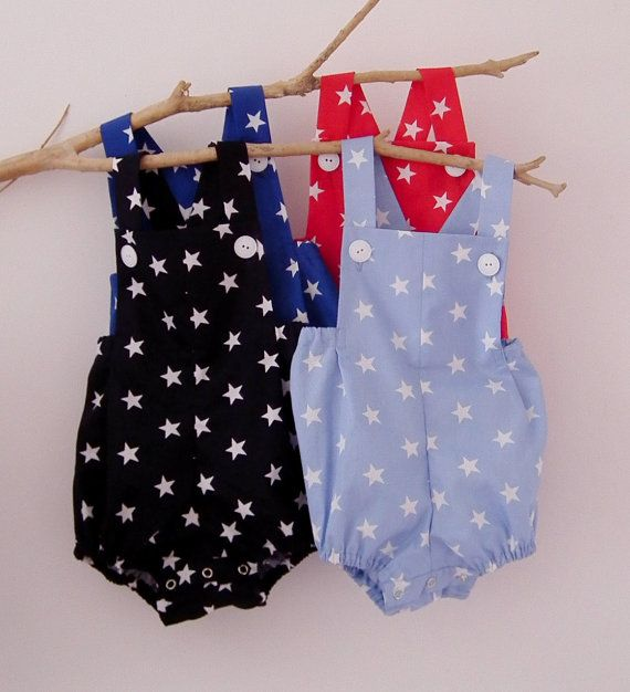Baby Boy  Clothes Baby Rompers  4th of July Stars by PetiteCousine