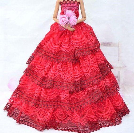 Wedding Dress for s Doll Trailing Skirt Wedding Dress 7 Colors EF