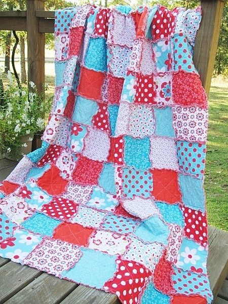Like These Patterns: Twin Size Quilt, Rag, Sugar Sweet, Turquoise And Red,  Girlu2026