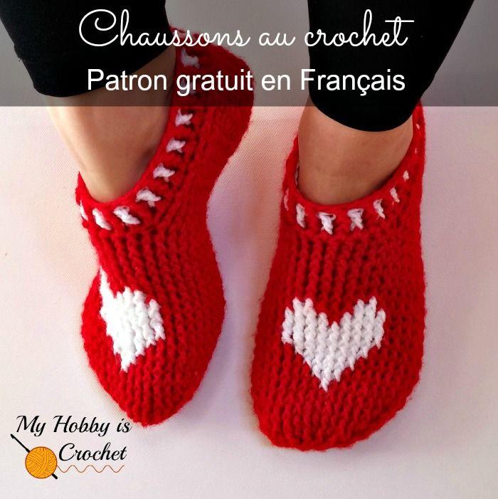 chaussons rouge au crochet patron