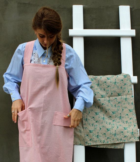 Kitchen Aprons/ Linen Pinafore/ Square Cross Linen Apron/ Japanese Apron/  Linen Aprons