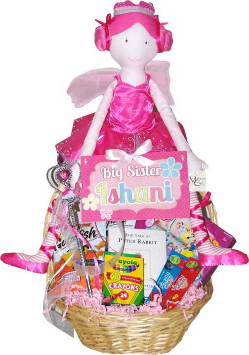 Custom personalized fairy princess gift basket for a new big sister custom personalized fairy princess gift basket for a new big sister toronto negle Gallery