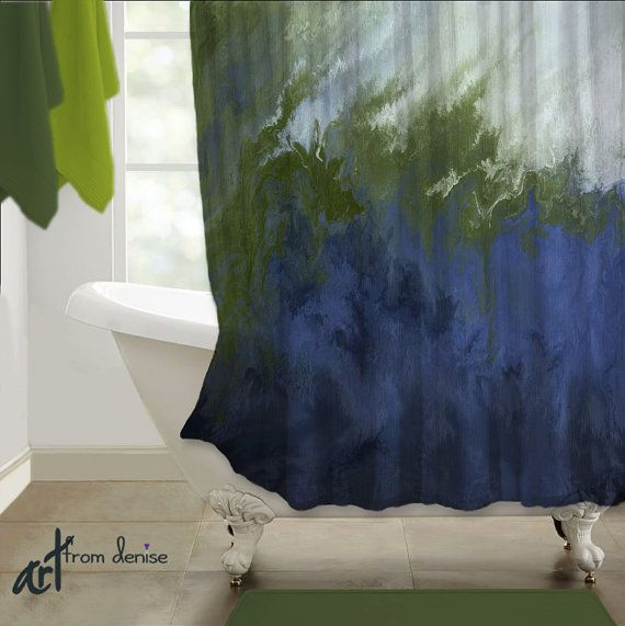 Shower Curtain Navy Blue White Olive Green By Artfromdenisedecor