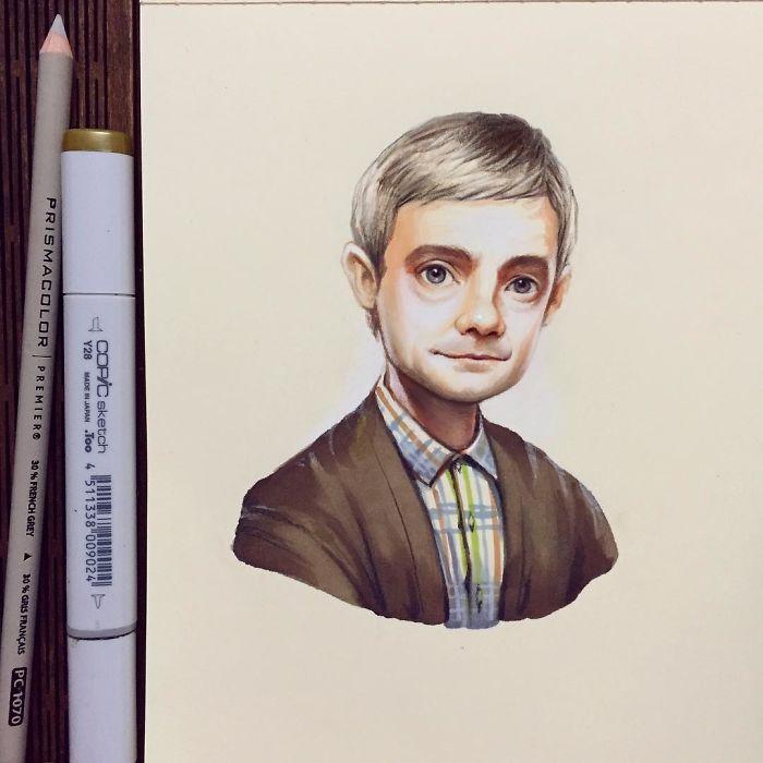 Russian Artist Turns Celebrities Into Adorable Cartoon Characters - Russian artist draws amazing cartoon versions of famous celebrities