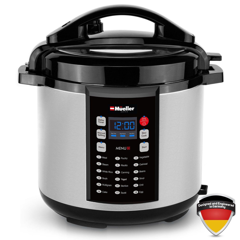c3d55ea2ca49 Mueller 10-in-1 Pro Series 18 Program 6Q Pressure Cooker with German ThermaV