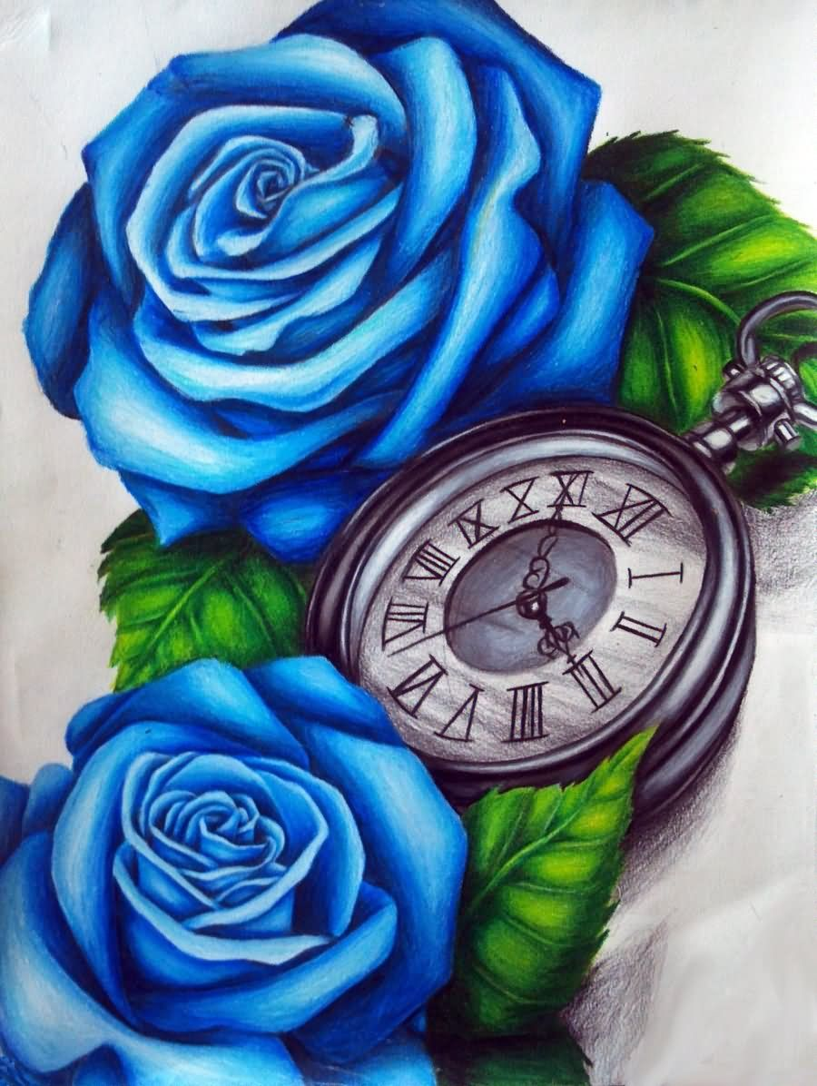 3d Blue Rose With Pocket Watch Tattoo Design By Lindsay Ideas