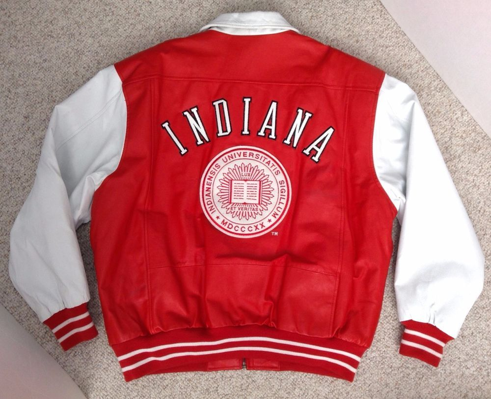 Vtg 100 Leather Indiana Hoosiers Zip Up Jacket Bomber Varsity Mens Xl Red White Jackets Mens Xl Varsity Jacket [ 812 x 1000 Pixel ]