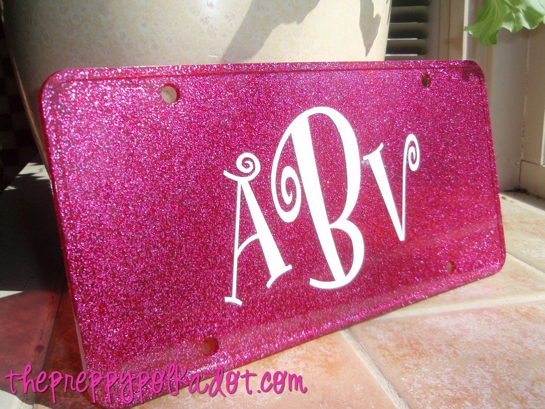 customized license plates with sparkle | Glitter Car Tag ...