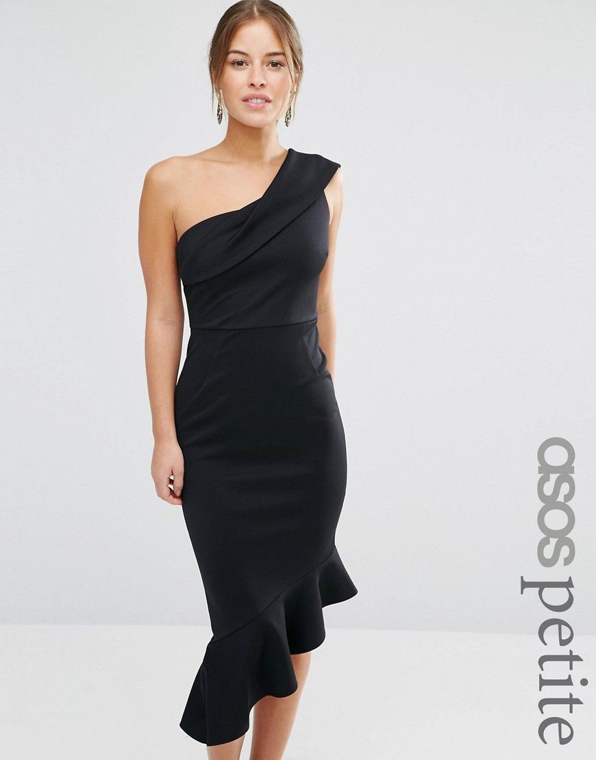 f8fe18908944 Image 1 of ASOS PETITE Scuba One Shoulder Peplum Midi Dress