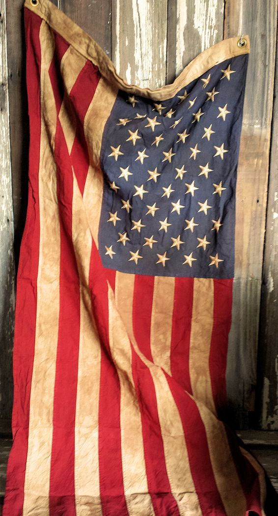 Antiqued Stitched American Flag #americanflagart