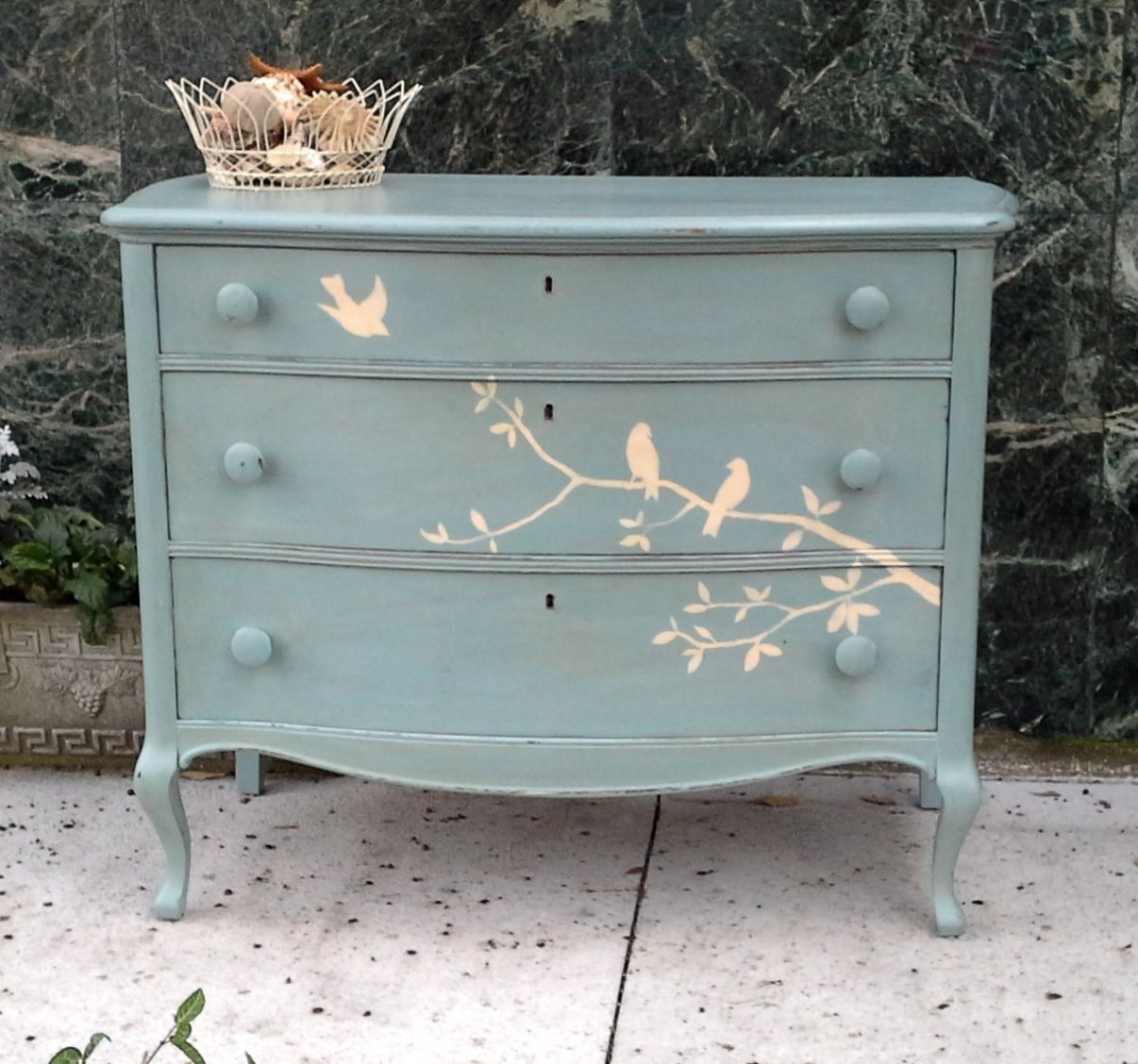 Beautiful Solid Wood Hand Painted Dresser With Birds Cottage Shabby Chic Inspired Shabby Chic Bedroom Furniture Shabby Chic Dresser Shabby Chic Painting