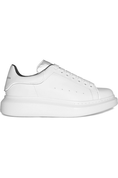 ALEXANDER MCQUEEN REFLECTIVE TRIMMED LEATHER EXAGGERATED