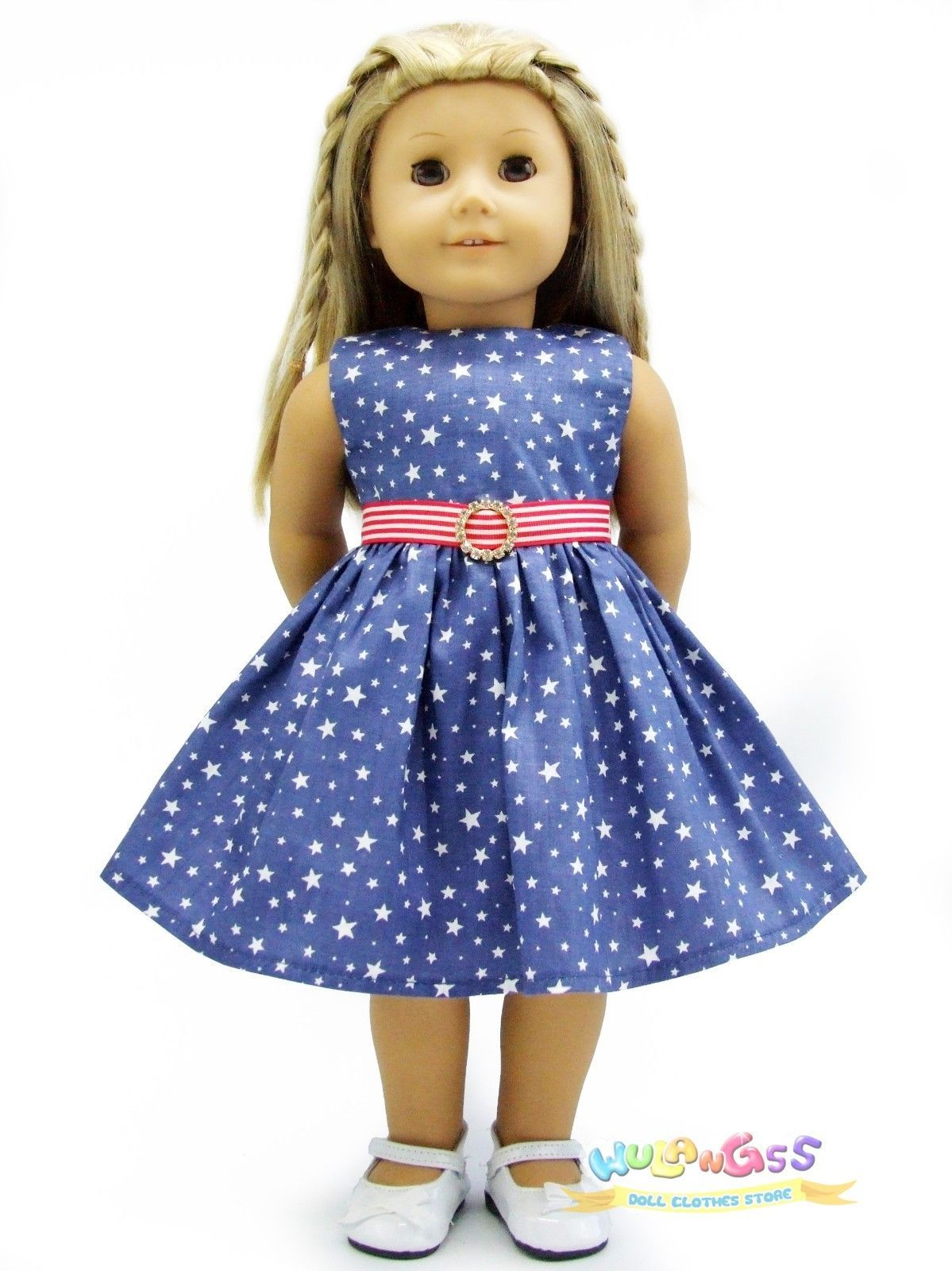"""Handmade AG 18/"""" Pink Striped Minnie Mouse Doll Dress Fits 18/"""" American Girl Doll"""