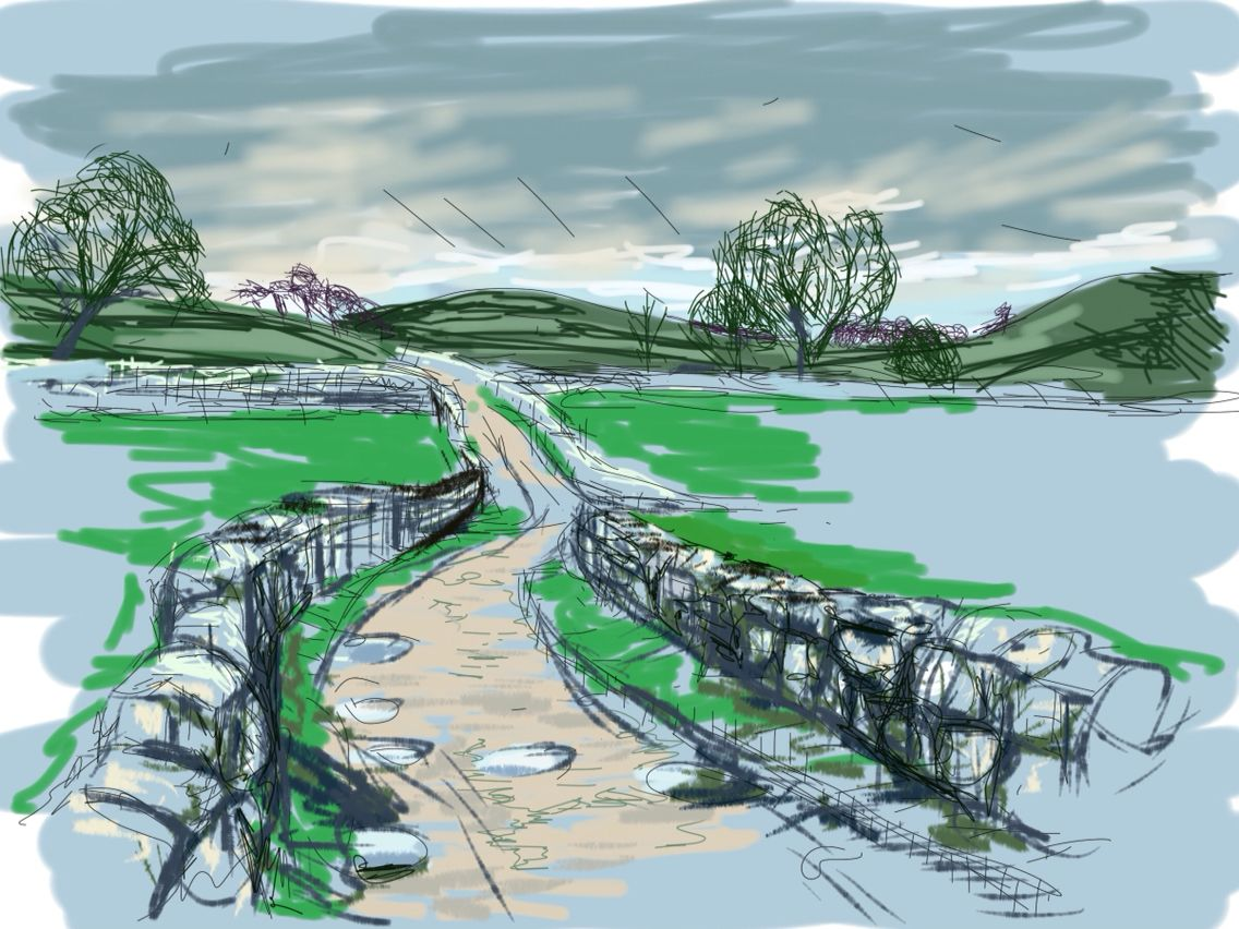 Craig Longmuir, 'Leisure Lane leading to Dovedale' iPad drawing from observation.
