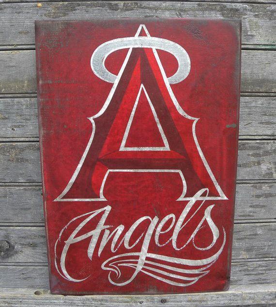 Anaheim Angels Baseball Sign Original Hand Painted Art Wall Hanging Sports Decor On Etsy