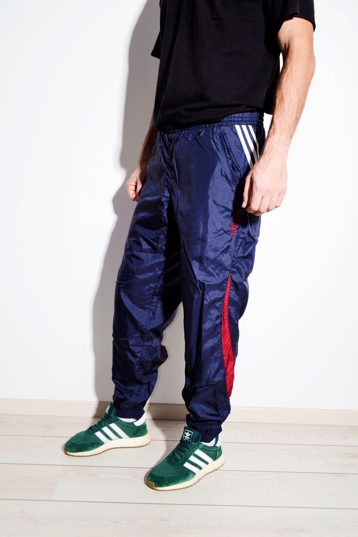 d887de9d27b4 ADIDAS vintage festival shell pant nylon in blue colour   Old school 90s  style men's track wind trousers   Size Medium