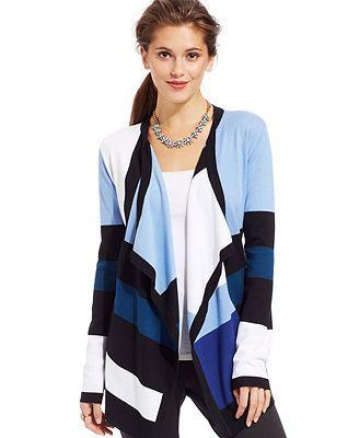 Grace Elements Long-Sleeve Draped Striped Cardigan