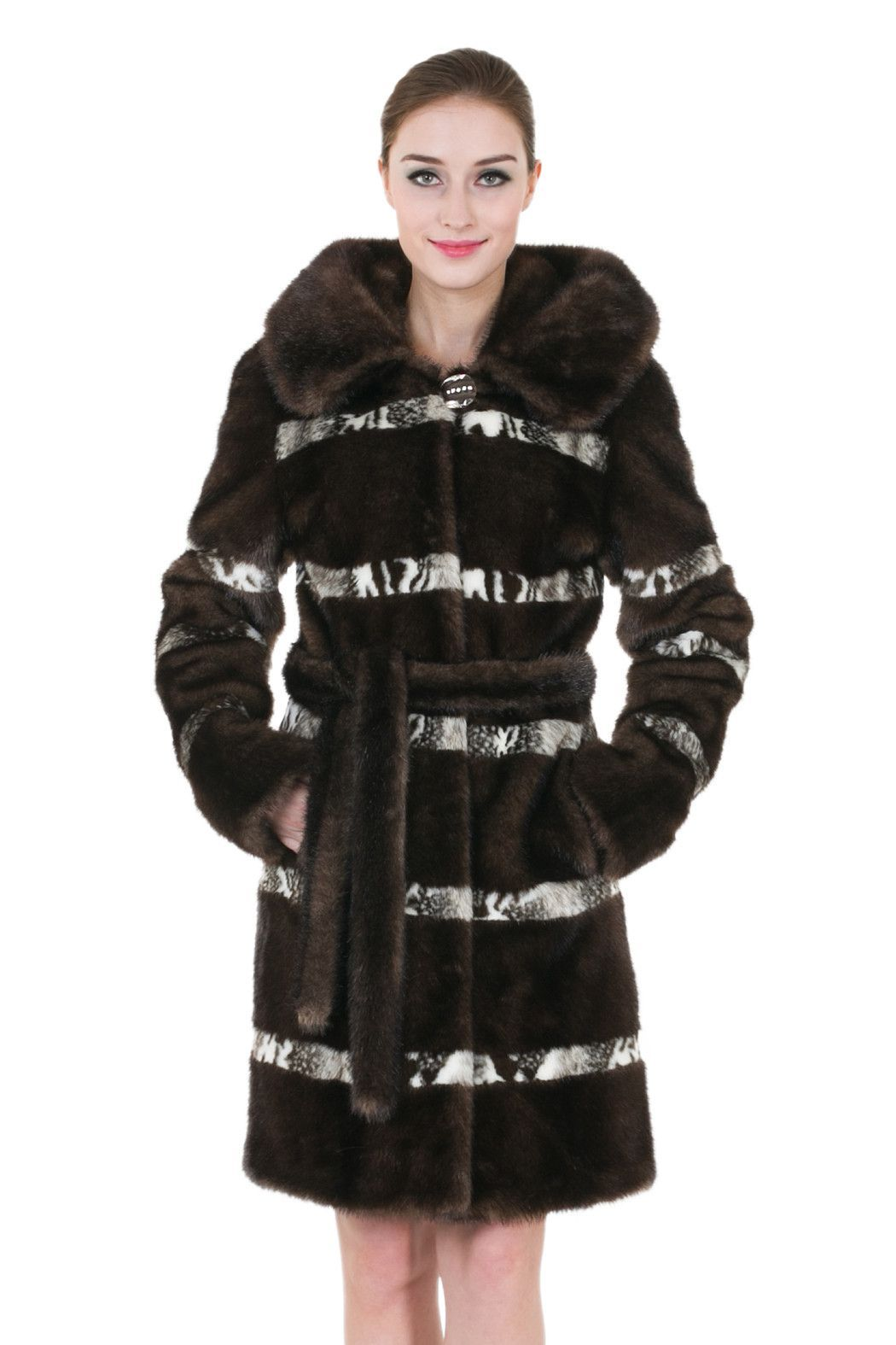 Clearance! Women's Sable Brown Faux Fur Coat with Hood   Brown ...
