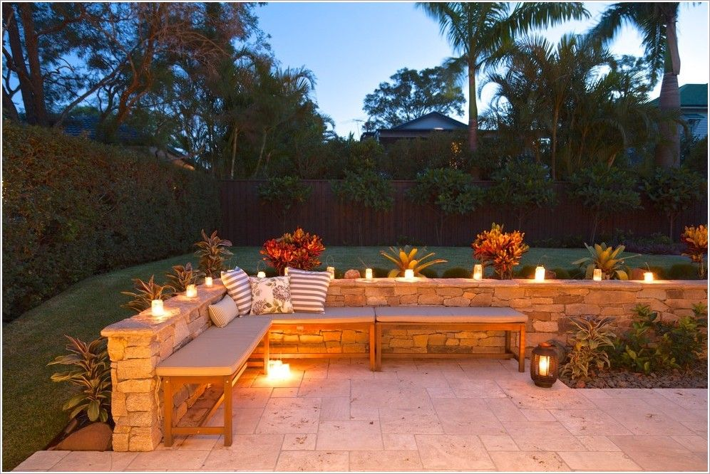 Attractive Austin Stone Patio | ... Stone Wall Outdoor Plants Pillows