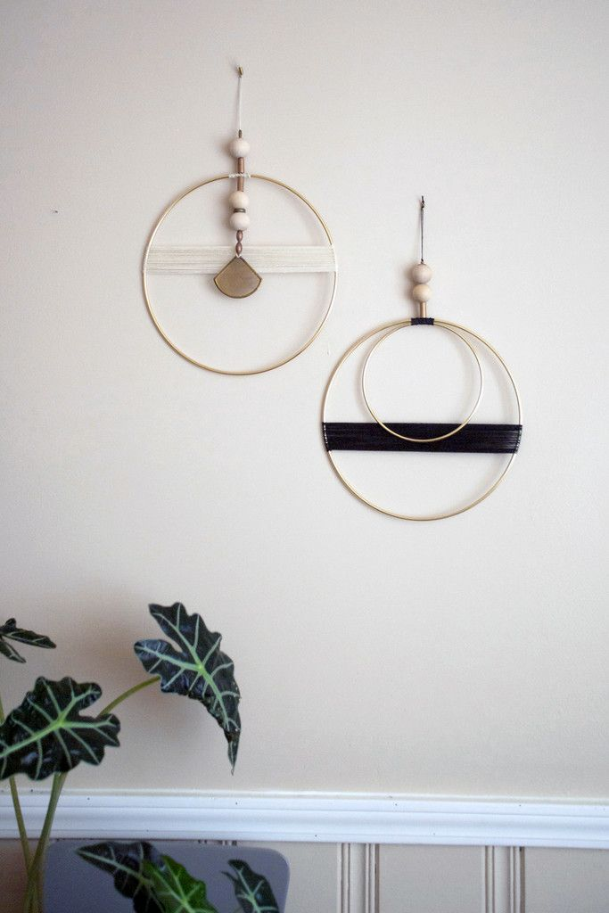 Double Circle With Black Thread Wall Hanging