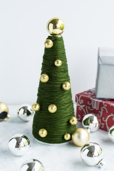 Easiest Ever Yarn Wrapped Tabletop Tree Christmas Crafts