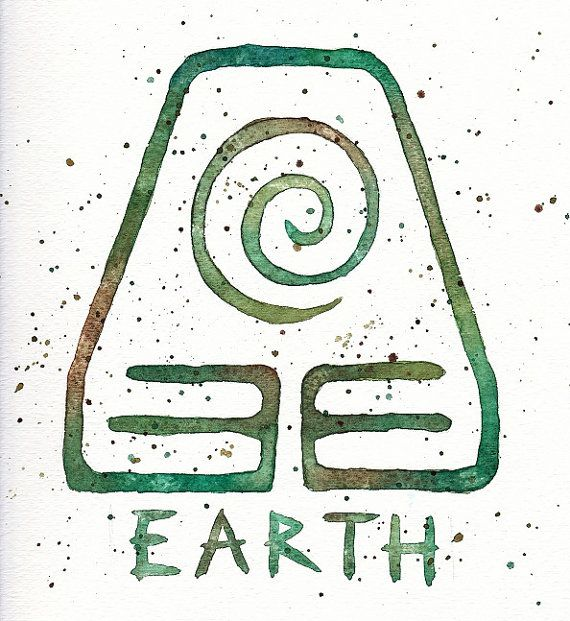 Earth Kingdom Symbol 10x10 Watercolor Painting Print Toph