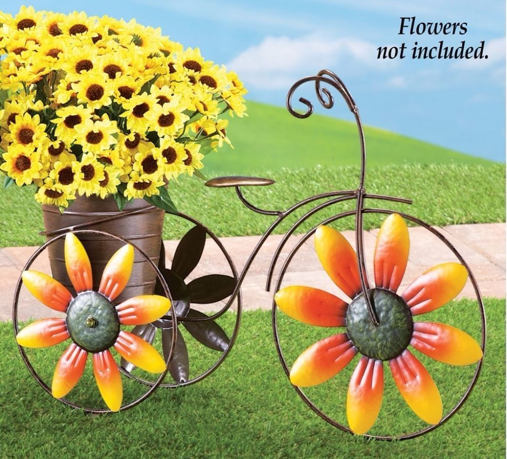 Charming Delightful Sunflower Design Tricycle Planter Metal Yard ...