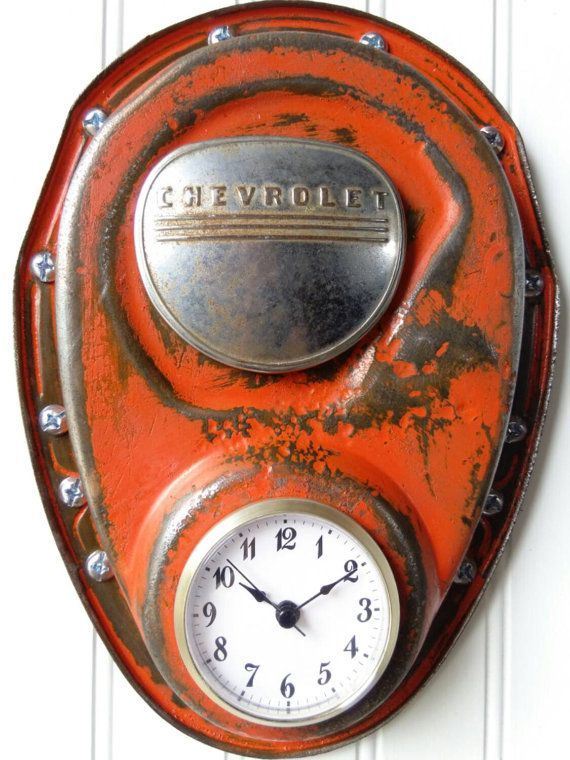 Ol Top Chevrolet Chevy Vintage Patina Wall Clock Metal Car Part Furniture Office Automotive Decor Man Cave Garage Art Gift Him Frost Auto