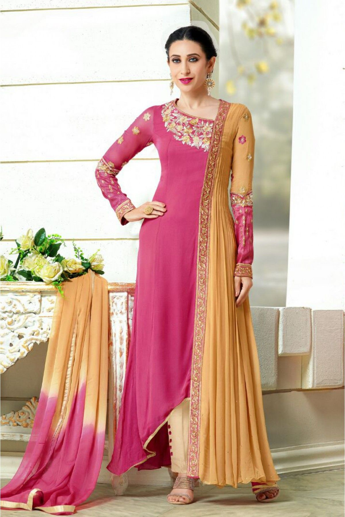 4d2e27f678 Pink and Beige Colour Faux Georgette Fabric Designer Semi Stitched Anarkali  Salwar Kameez Comes With Matching Dupatta and Bottom Fabric.